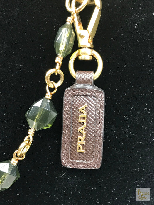 PRADA Gold Chain Green Plex Crystal Beaded Long Necklace