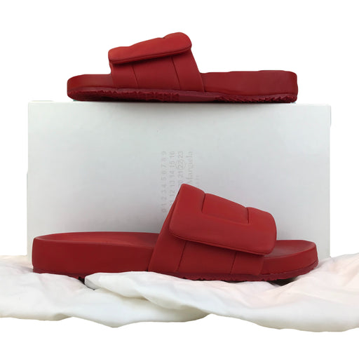 $395 MAISON MARGIELA Red Rubber Leather SZ 42 Pool Slides Slip On NEW SALE!