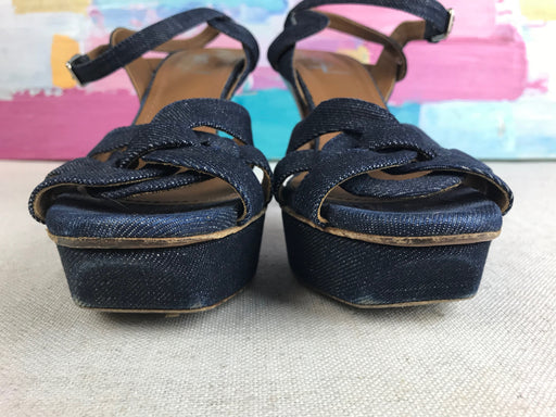 YVES SAINT LAURENT Blue Denim Tribute Sandals SZ 38
