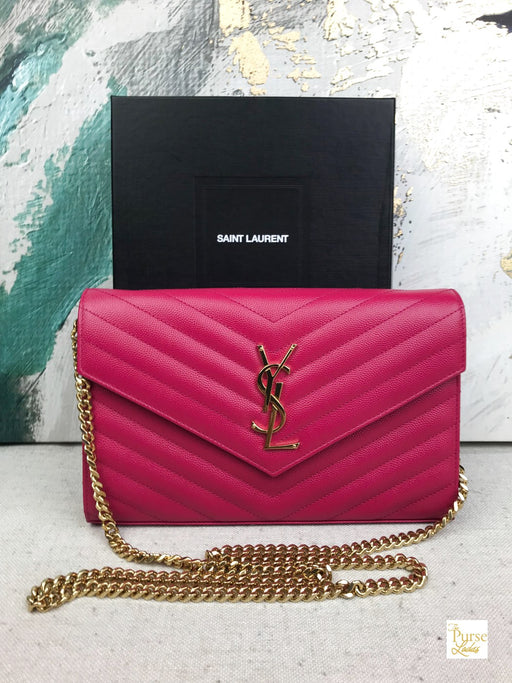 Saint Laurent Pink Monogramme Large Graine De Poudre Wallet on Chain