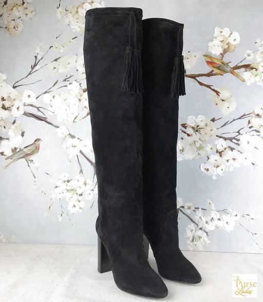 YVES SAINT LAURENT Black Suede Meurice Tassled Boots SZ 38.5
