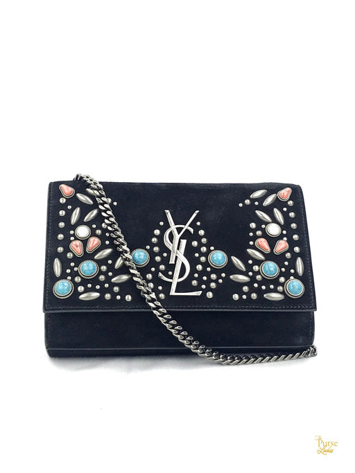 YVES  SAINT LAURENT Black Suede Small Stone-Studded Kate Crossbody Bag
