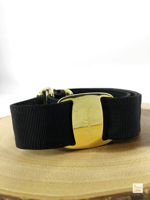 SALVATORE FERRAGAMO Black Grosgrain Ribbon Adjustable Belt Accessories