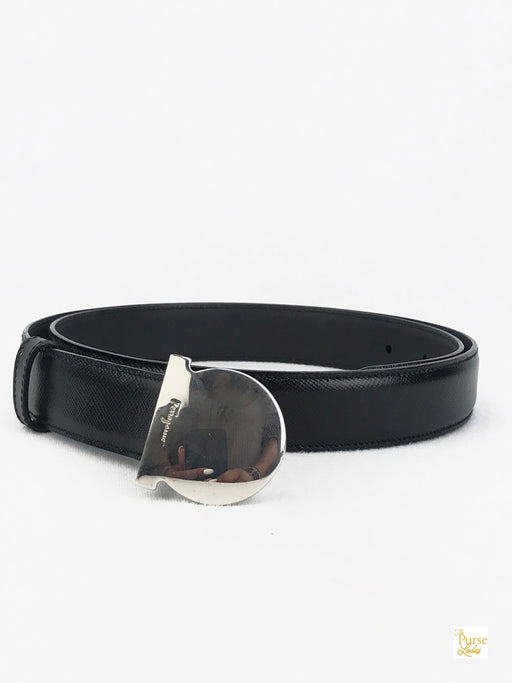 SALVATORE FERRAGAMO Black Gancini Belt