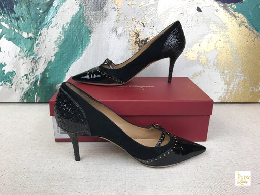 SALVATORE FERRAGAMO Black Suede Liena Pumps SZ 10