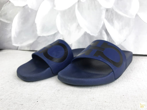 SALVATORE FERRAGAMO Blue Rubber Men's Pool Slides SZ 10 M