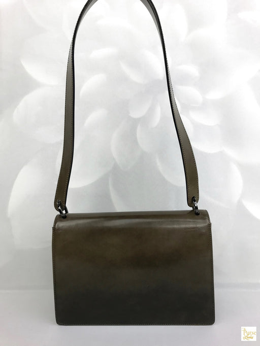 $650 SALVATORE FERRAGAMO Green Brown Ombre Gancini Patent Leather Shoulder Bag