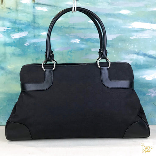 $1025 SALVATORE FERRAGAMO Black Gancini Logo Canvas Leather Tote Bag SALE!