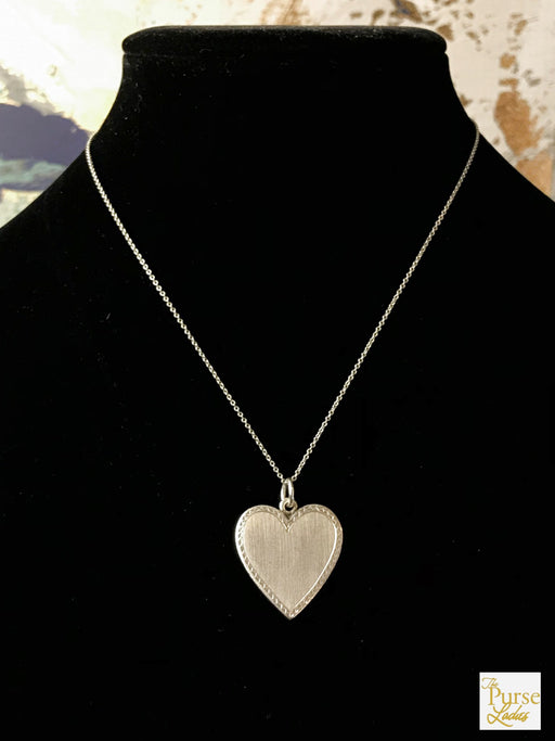 TIFFANY & CO Sterling Silver Antique Etched Engravable Heart Pendant