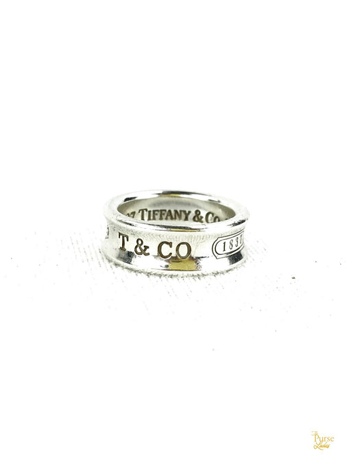 TIFFANY & CO. Sterling Silver Engraved 1837 Concave Ring