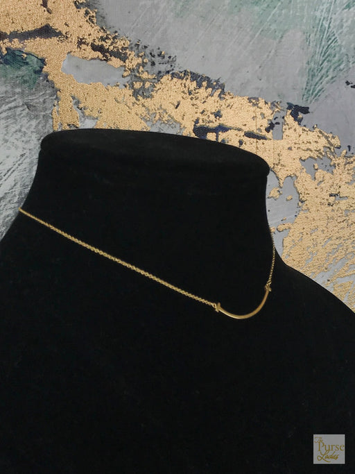 TIFFANY & CO 750 18k Gold Small T Smile Necklace