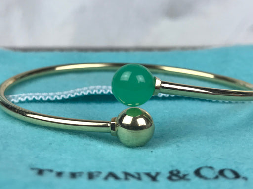 TIFFANY & CO 750 18k Gold Ball Bypass Amazonite Bracelet
