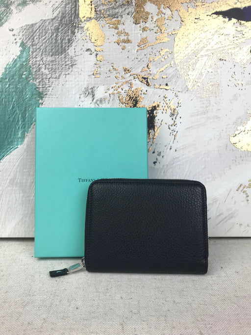 TIFFANY & CO. Black Leather Zip Around Wallet