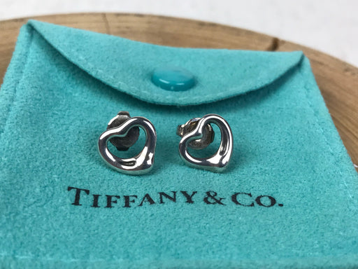 TIFFANY & CO. Sterling Silver Elsa Peretti Open Heart Earrings