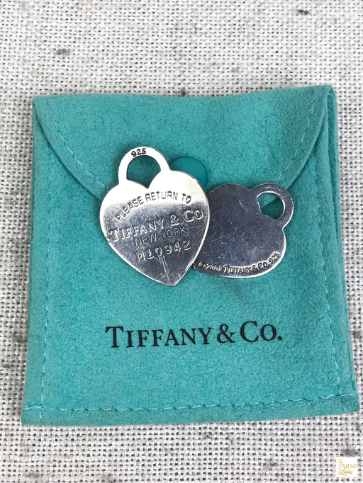 TIFFANY & CO. 925 Sterling Silver 2 Heart Tag Charms