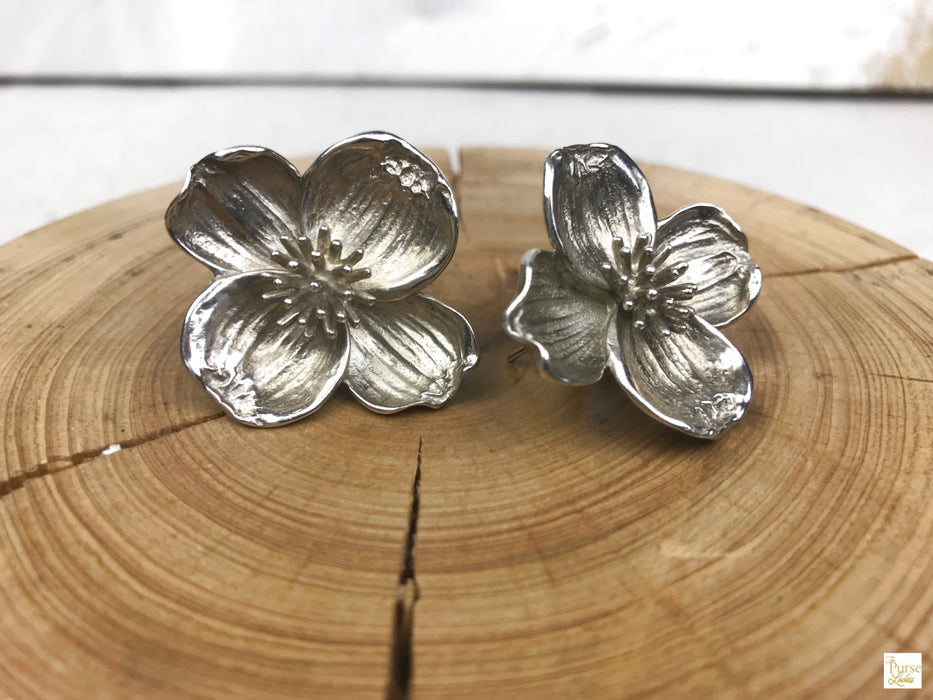 TIFFANY & CO. 925 Sterling Silver Dogwood Blossom Earrings