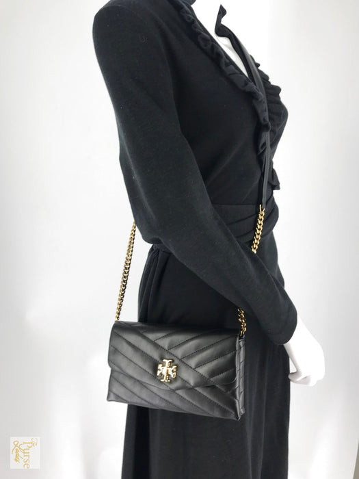 TORY BURCH Black Kira Leather Wallet On Chain Crossbody Bag