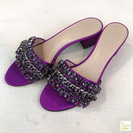 $395 TORY BURCH Beverly Purple Satin SZ 7 Crystal Heels Sandals