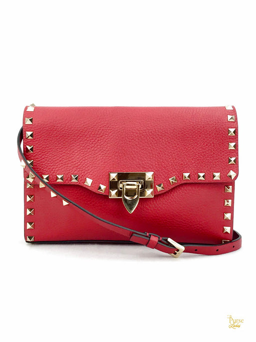 VALENTINO GARAVANI Red Small Leather Rockstud Flap Crossbody Bag