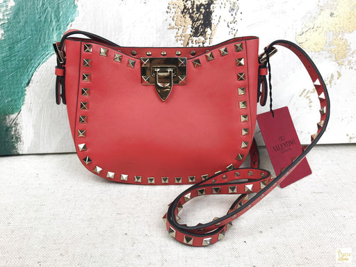 VALENTINO Orange/Red Leather Mini Rockstud Crossbody