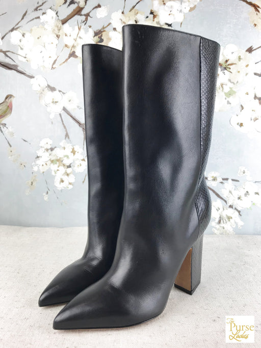 VALENTINO Black Leather Python Mid Calf Boots SZ 37