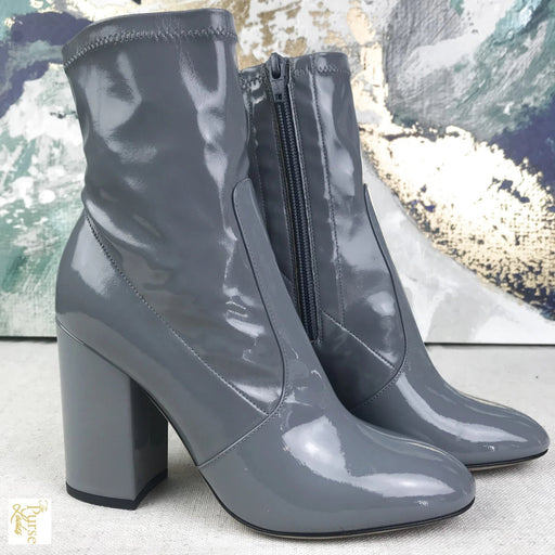 VALENTINO Gray Patent Leather Ankle Boots SZ 35