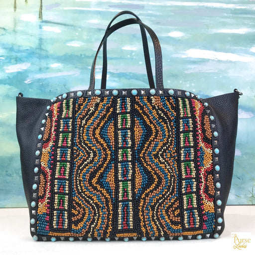 $3595 VALENTINO Black Leather Rockstud Beaded Rolling Tote Bag SALE!