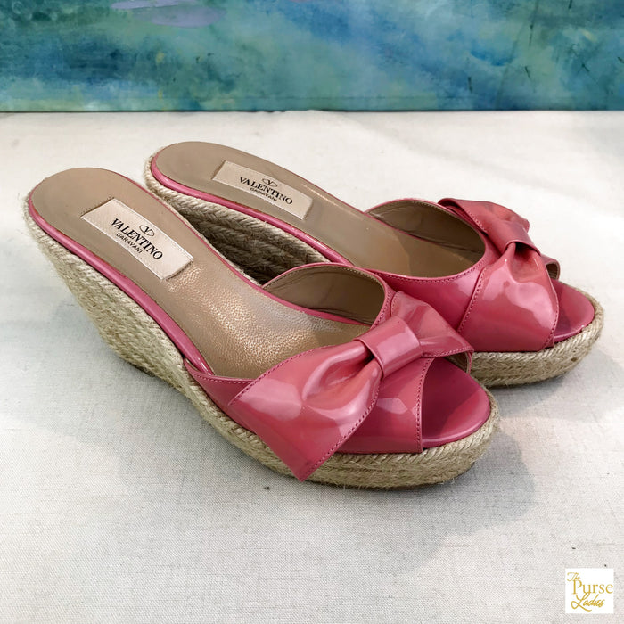 ee08df6e0d8 $795 VALENTINO Mena Pink Patent Leather Bow SZ 36 Espadrille Wedges