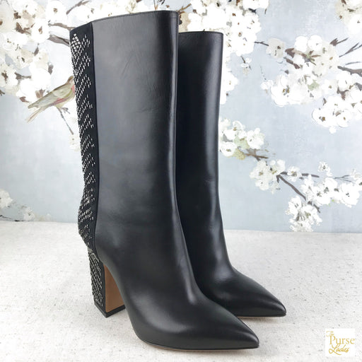 VALENTINO Black Leather Beaded Boots SZ 37