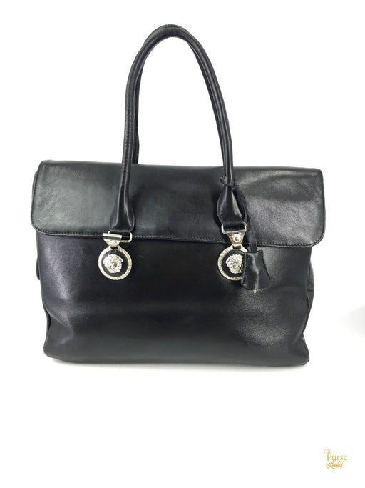 VERSACE Black Leather Medusa Face Shoulder Bag