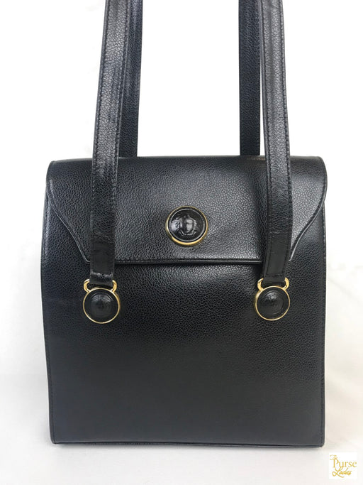 VERSACE Black Textured Leather Medussa Flap Shoulder Bag