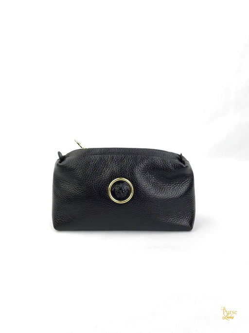 VERSACE Black Leather Medusa Pouch Clutch Bag