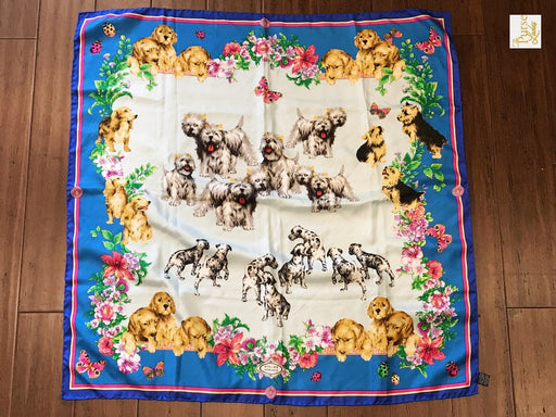 VERSACE Multi-Color Silk Vintage Altier Dog Print Scarf