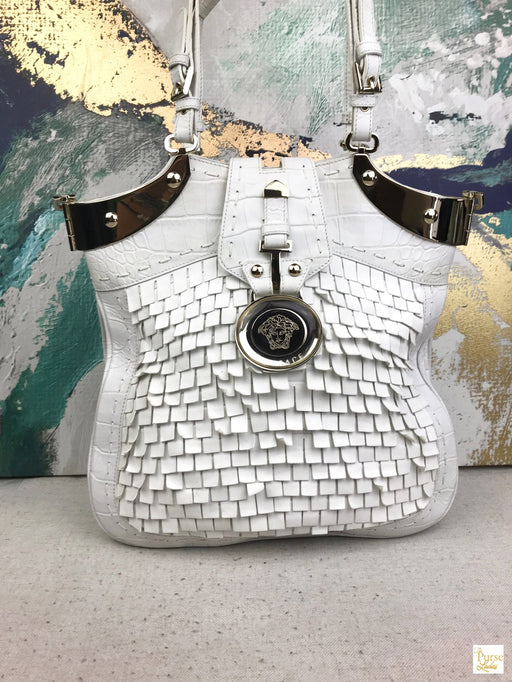 VERSACE White Leather Fringe Medusa Tote