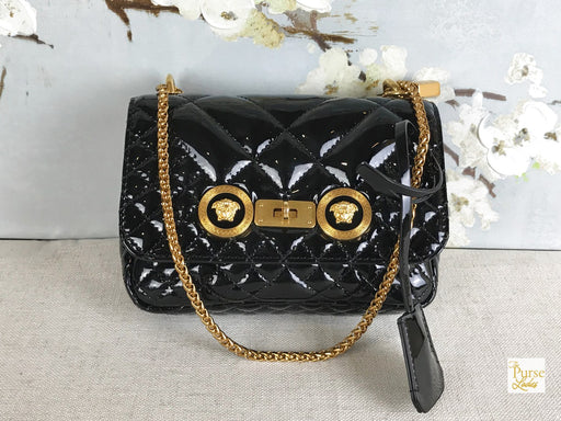VERSACE Black Small Icon Patent Leather Shoulder Bag
