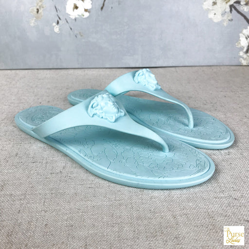 VERSACE Blue Rubber Thong Sandals SZ36