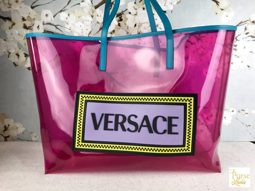 VERSACE Pink Clear PVC Shopping Tote