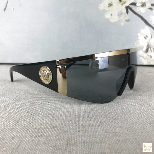 VERSACE Black & Gold Tribute Oversized Wrap Sunglasses