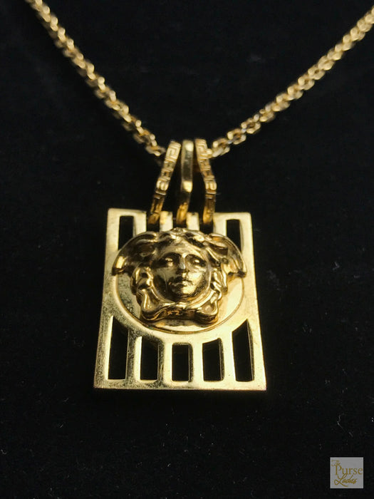 VERSACE Gold Plated Vintage Medusa Head Necklace