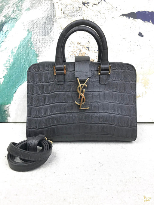 YVES SAINT LAURENT Gray Crocodile Embossed Monogram Baby Cabas Tote