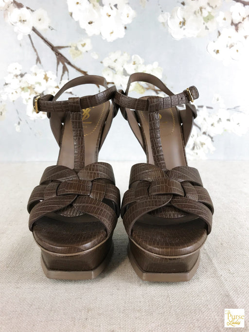 YVES SAINT LAURENT Embossed Tribute Sandals SZ.39