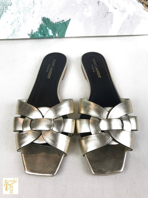 YVES SAINT LAURENT Gold Leather Tribute Sandals SZ 38.5