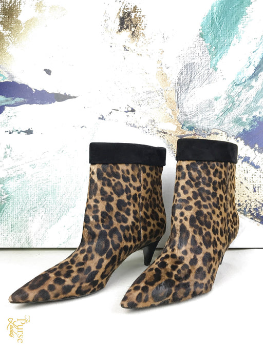 YVES SAINT LAURENT Leopard Calf Hair Charlotte Booties SZ 36