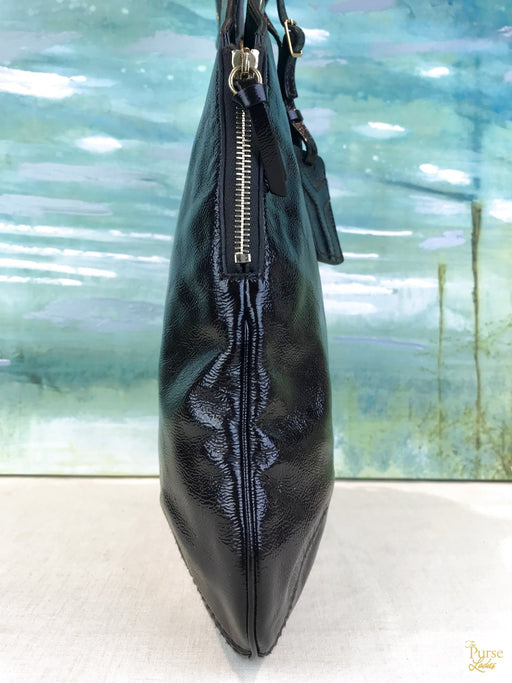 $965 YVES SAINT LAURENT Brown Patent Leather Tribute Tote Bag SALE!