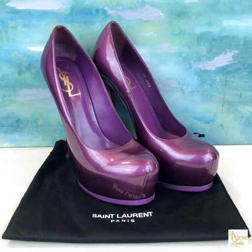 $800 YSL Yves Saint Laurent Purple Tribtoo Patent Leather Heels Pumps Platforms Sz. 39.5