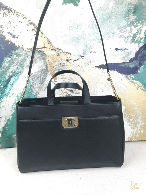 CHANEL Black Leather Straight Lines 2 Way Tote