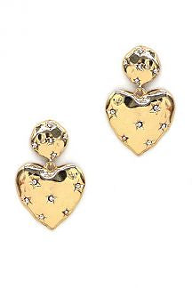 WIDE HEART METAL DANGLE STAR STONE EARRING