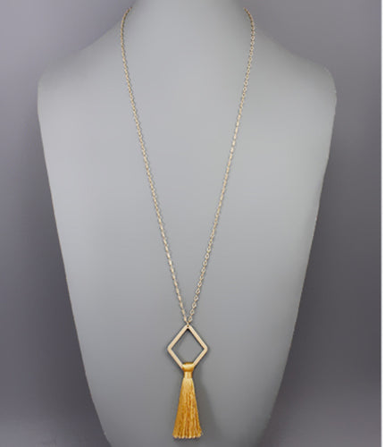 Rhombus and Tassel Necklace