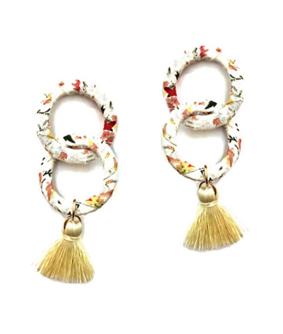 Fabric Link Tassel Earrings