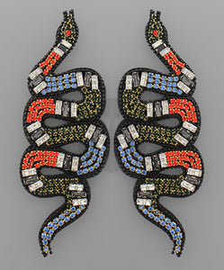 Jeweled Snake Earrings